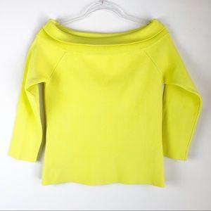 NEW Warehouse US 10 Neon Yellow Bardot Jumper